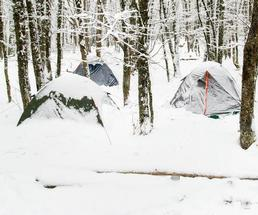 camping tents set up in the winter