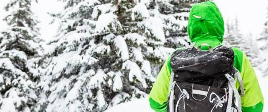 winter hiker in green