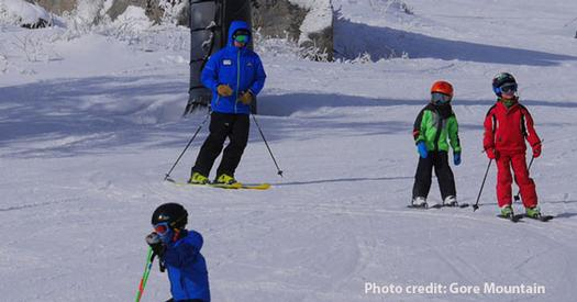 young kids skiing