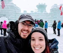 a couple at a winter carnival