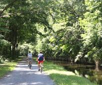 bikers on the feeder canal trail