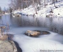 lower cascade lake in winter