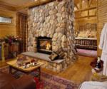 room at fern lodge with fireplace