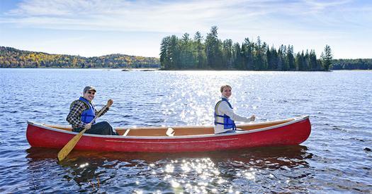 two people paddling