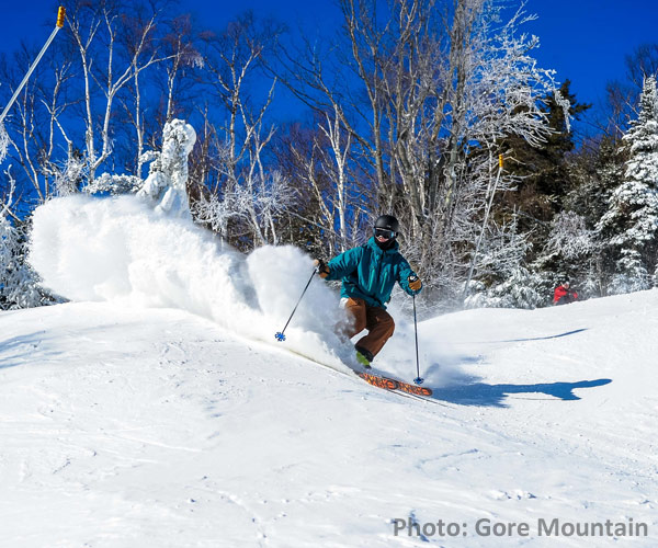 person skiing at gore mountain