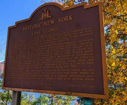 Historic Lake George sign in the fall