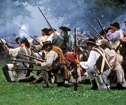 soldiers in battle reenactment