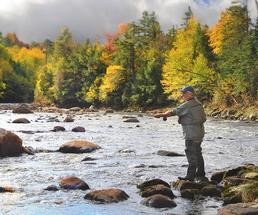man fishing in the fall