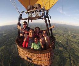 family in a hot air balloon