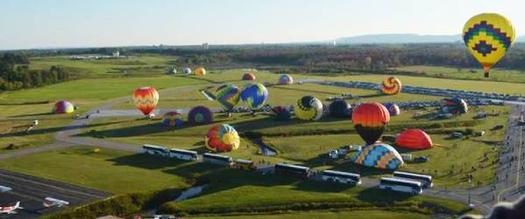 aerial view of a balloon festival