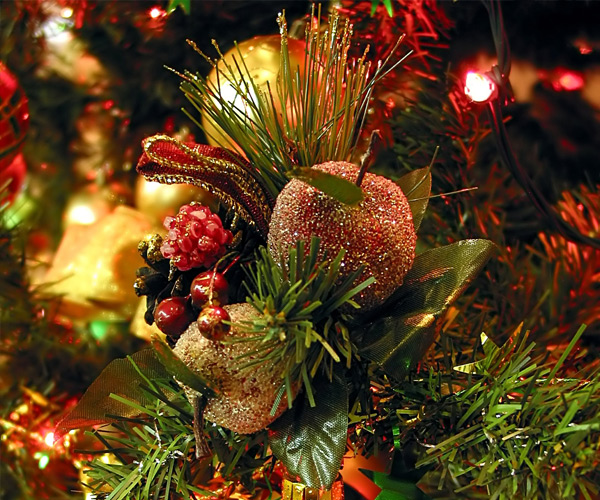 fruit ornament on a christmas tree