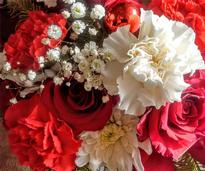 red and white bouquet of flowers