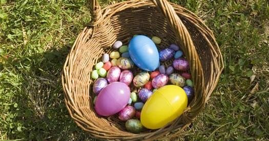 easter basket with eggs and candy