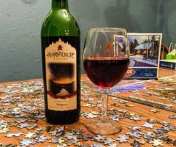 Adirondack Winery wine and puzzle