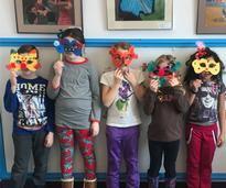 kids with masks they made