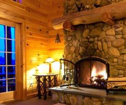 fireplace inside cabin