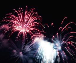colorful red fireworks