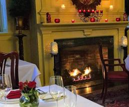fireside dinner and Valentine's Day decorations