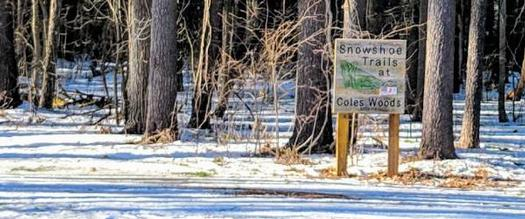 sign for snowshoe trails at Cole's Woods