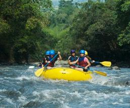 Group of people whitewater rafting in yellow boat with paddles