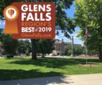 downtown glens falls with the region's best badge