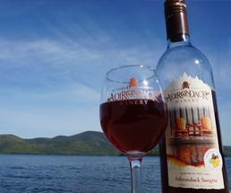 wine glass and bottle from adirondack winery