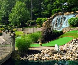 waterfall on mini golf course