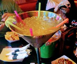 a giant margarita with sparklers