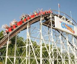 The Comet's red train as the rollercoaster descends the first hill at The Great Escape.