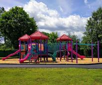 Colorful playground at West End Park in Queensbury NY