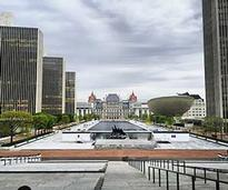 Looking on Empire State Plaza in Albany NY