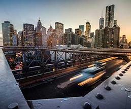Skyscrapers in New York City as night falls