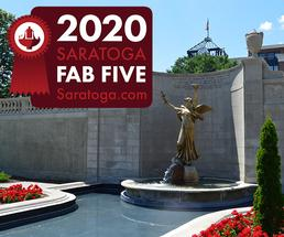 fountain in saratoga with 2020 fab five badge
