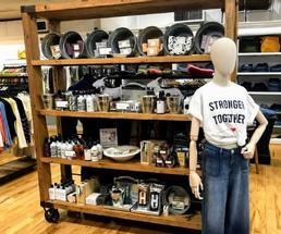mannequin in store wearing Stronger Together shirt