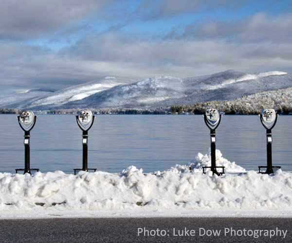 lake george village viewing devices in winter