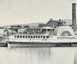 old photo of the first Minne Ha Ha steamboat