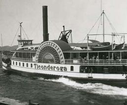 old photo of the original Ticonderoga steamboat