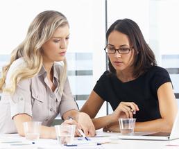 two women having a marketing meeting