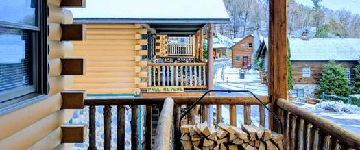 log cabins in winter