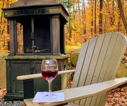 wine on Adirondack chair in fall