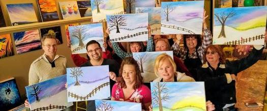 paint and sip class with winter paintings