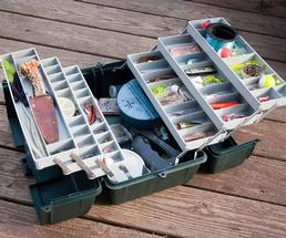 fishing tackle box with supplies