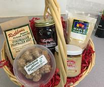 a gift basket of maple products