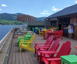 rooftop bar and chairs in Lake George