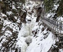 high fall gorge covered in snow