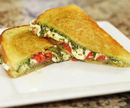 grilled cheese and pesto sandwich on a white plate