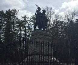statue in lake george battlefield park