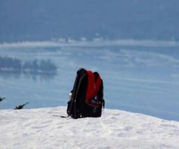 backpack in snow