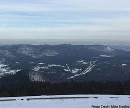 view of lake george during winter from prospect mountain