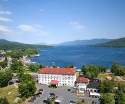 aerial view of fort william henry hotel and lake george